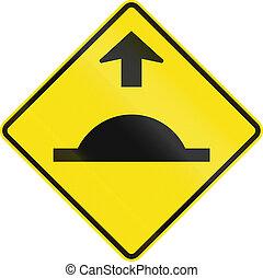 Road Bump In Australia - Warning road sign in Australia -...