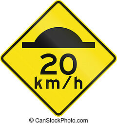 Road Bump With Advisory Speed In Australia