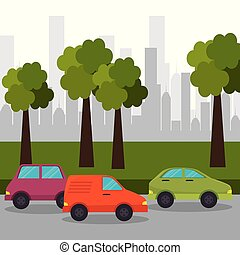 road car town with tree