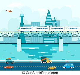 Road Cars Wagons on Bridge over River Transport Symbol...