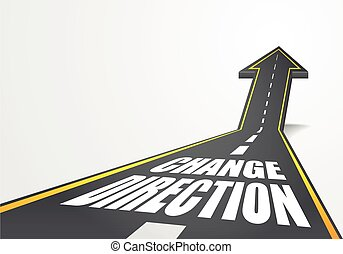 road Change Direction - detailed illustration of a highway...