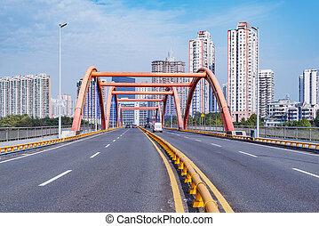 road., china., ville, soir, vue, shenzhen.