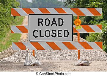 Road Closed Sign - Road closed warning sign