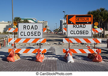 Road Closed Sign on Street Repair
