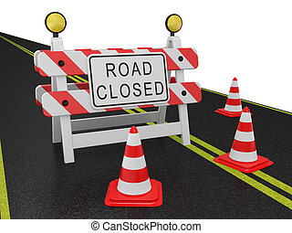 Road closed warning sign on a white background