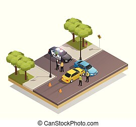 Road Collision Accident Isometric Composition