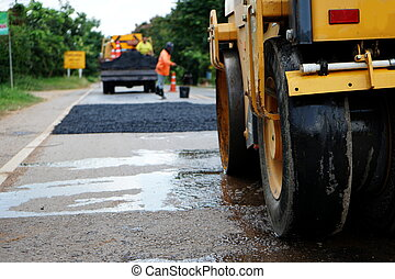 Road compaction machinery Used to repair damaged pavements For the driver to use conveniently, safely