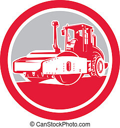 Illustration of road compactor road roller viewed from the front on low angle set inside circle done in retro style.