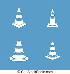 Road cone icon blue set vector