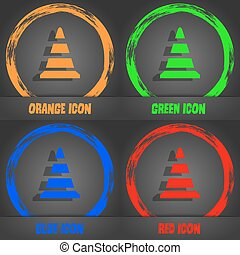 road cone icon. Fashionable modern style. In the orange, green, blue, red design. Vector
