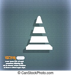 road cone icon. On the blue-green abstract background with shadow and space for your text. Vector