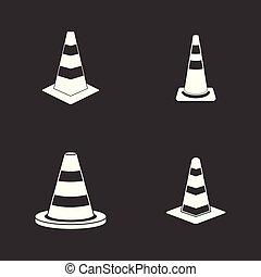 Road cone icon set grey vector