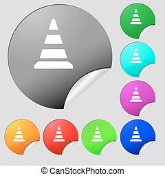 road cone icon. Set of eight multi colored round buttons, stickers. Vector
