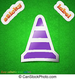 road cone icon sign. Symbol chic colored sticky label on green background. Vector