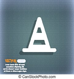 road cone icon symbol on the blue-green abstract background with shadow and space for your text. Vector