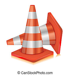 Road Cone - illustration of road cone on white background