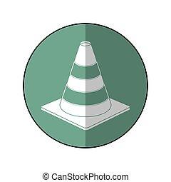 road cone warning sign design green circle shadow