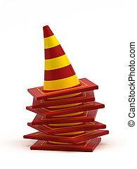 Road cones isolated on white