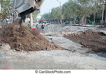 road construction 1 - road construction in a city with a ...