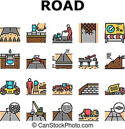 Road Construction Collection Icons Set Vector