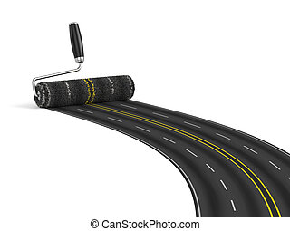 Road construction concept - 3d render of painting the road...