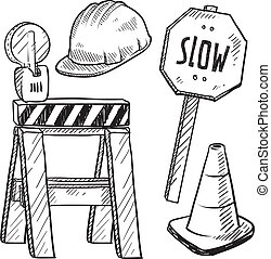 Road construction equipment sketch - Doodle style road...
