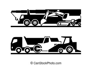 Road construction machinery icon set