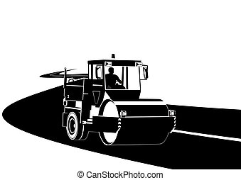 Road construction machinery on the road. Black and white ...