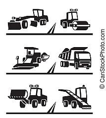 Road construction machinery - vector illustration