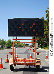 Road Construction Merge - Electric sign with arrows ...