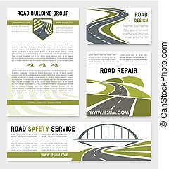 Road construction repair service vector templates