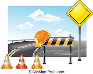 Road construction - Road warning cone, sign for construction...