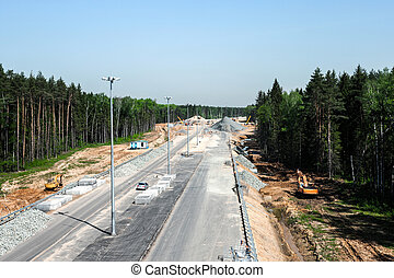 Road construction - Road works, view from the height