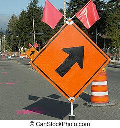 Road Construction Sign Arrow