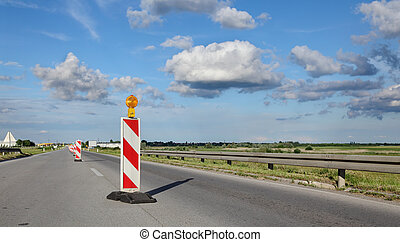 Road construction site - Roadworks, road sign in a highway ...
