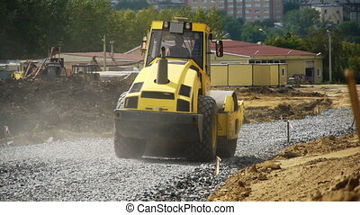 road construction - a road construction by a yellow road...