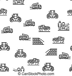 Road Construction Vector Seamless Pattern