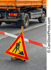 Road construction work sign