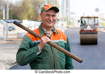 Road construction worker - Portrait happy male road...