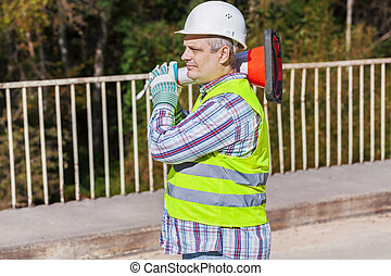 Road construction worker with