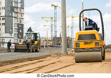 Road construction works - Light tandem vibratory roller ...