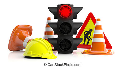 Work in progress. Road constuction signs isolated on white background. Red traffic light, road sign, hard hat and traffic cones, 3d illustration
