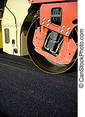 Road contruction and steamroller