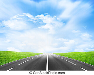 road - country freeway under blue sky
