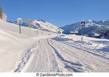 road covered with snow in winter