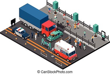 Road Crash Isometric Illustration