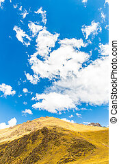 Road Cusco- Puno, Peru,South America. Sacred Valley of the Incas. Spectacular  nature of mountains and blue sky