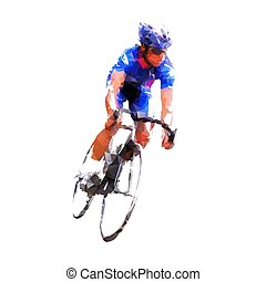 Road cycling, cyclist in blue jersey riding his bike, isolated low poly geometric vector illustration