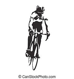 Road cyclist on his bike, abstract vector silhouette, front...