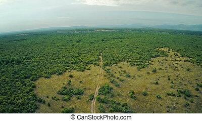 Road Dalmatian hinterland, aerial descending shot - Copter...